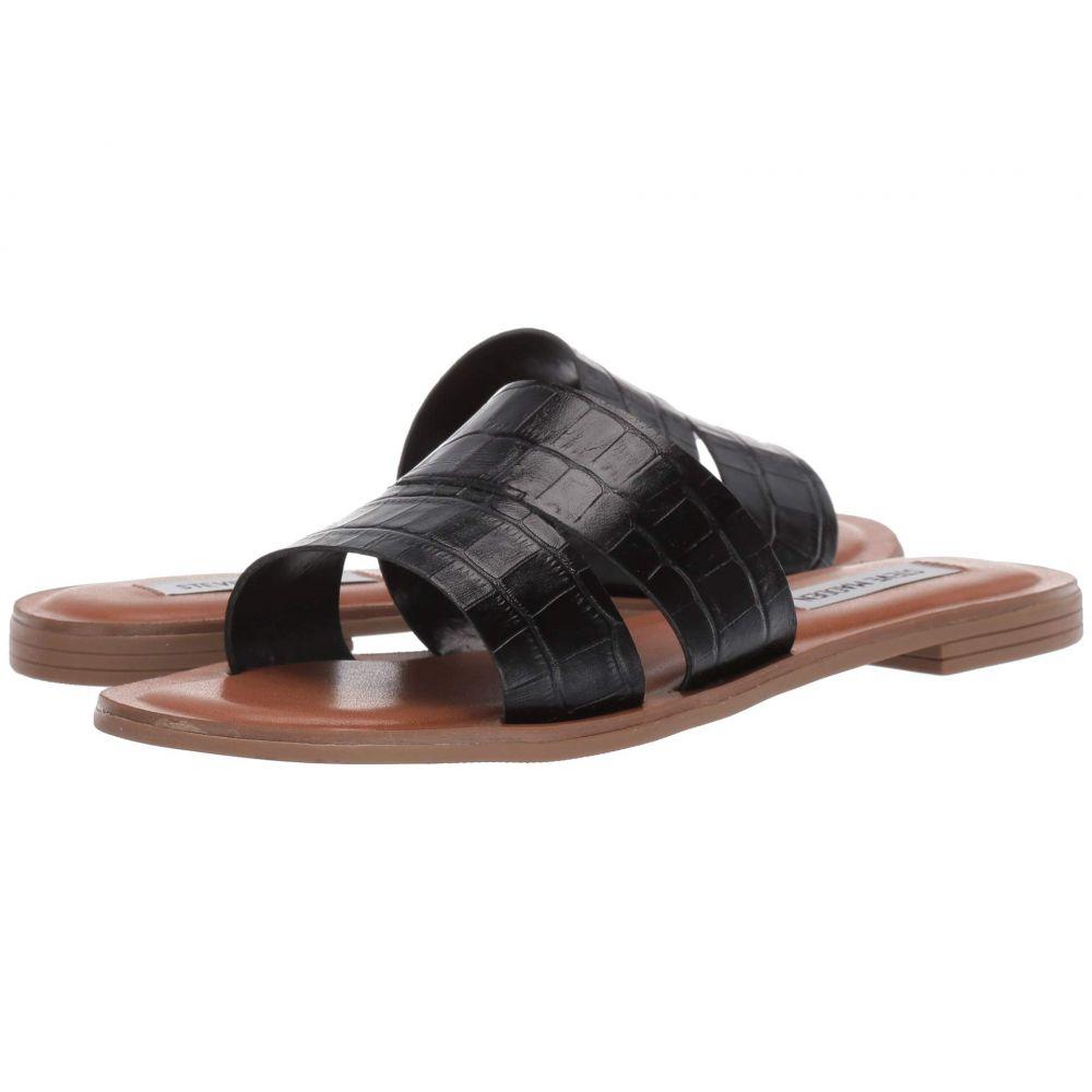 スティーブ マデン Steve Madden レディース サンダル・ミュール フラット シューズ・靴【Alexandra Flat Sandals】Black Croco