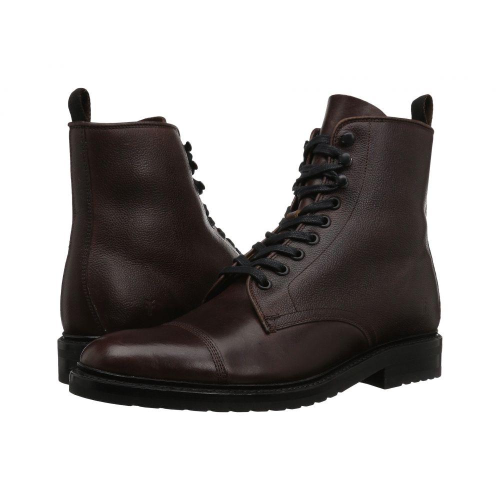 フライ Frye メンズ ブーツ レースアップ シューズ・靴【Officer Lace-Up】Brown Smooth Pull Up/Scotch Grain