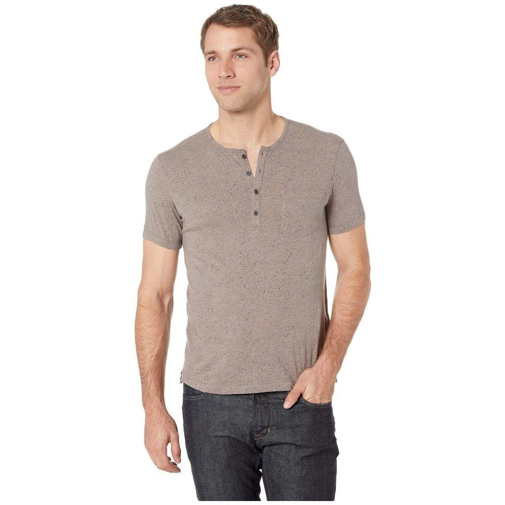 ジョン バルベイトス John Varvatos Star U.S.A. メンズ Tシャツ ヘンリーシャツ トップス【Short Sleeve Henley in Splatter Print】Mercury Grey