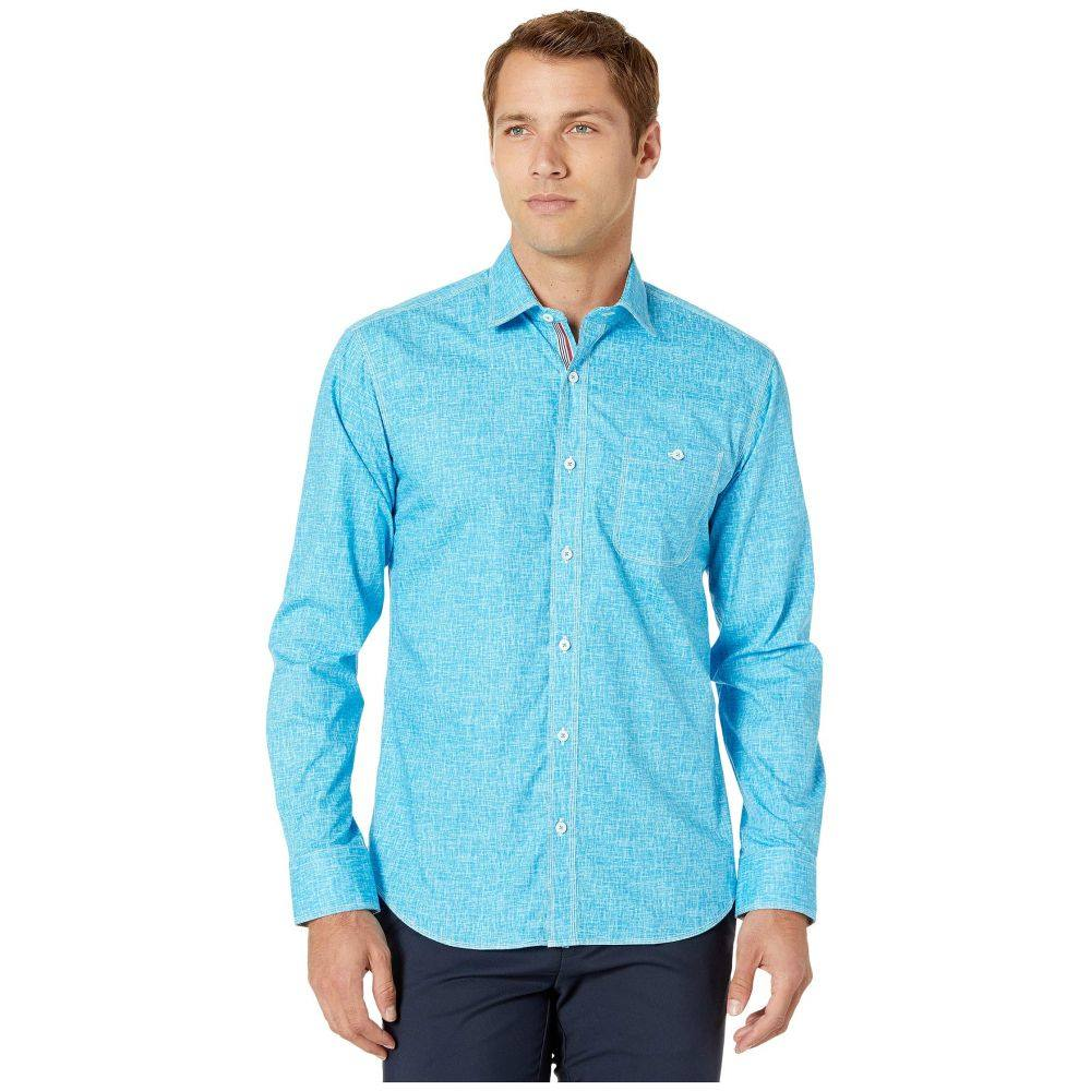 ブガッチ BUGATCHI メンズ シャツ トップス【Crosshatch Long Sleeve Button Up Shirt】Teal