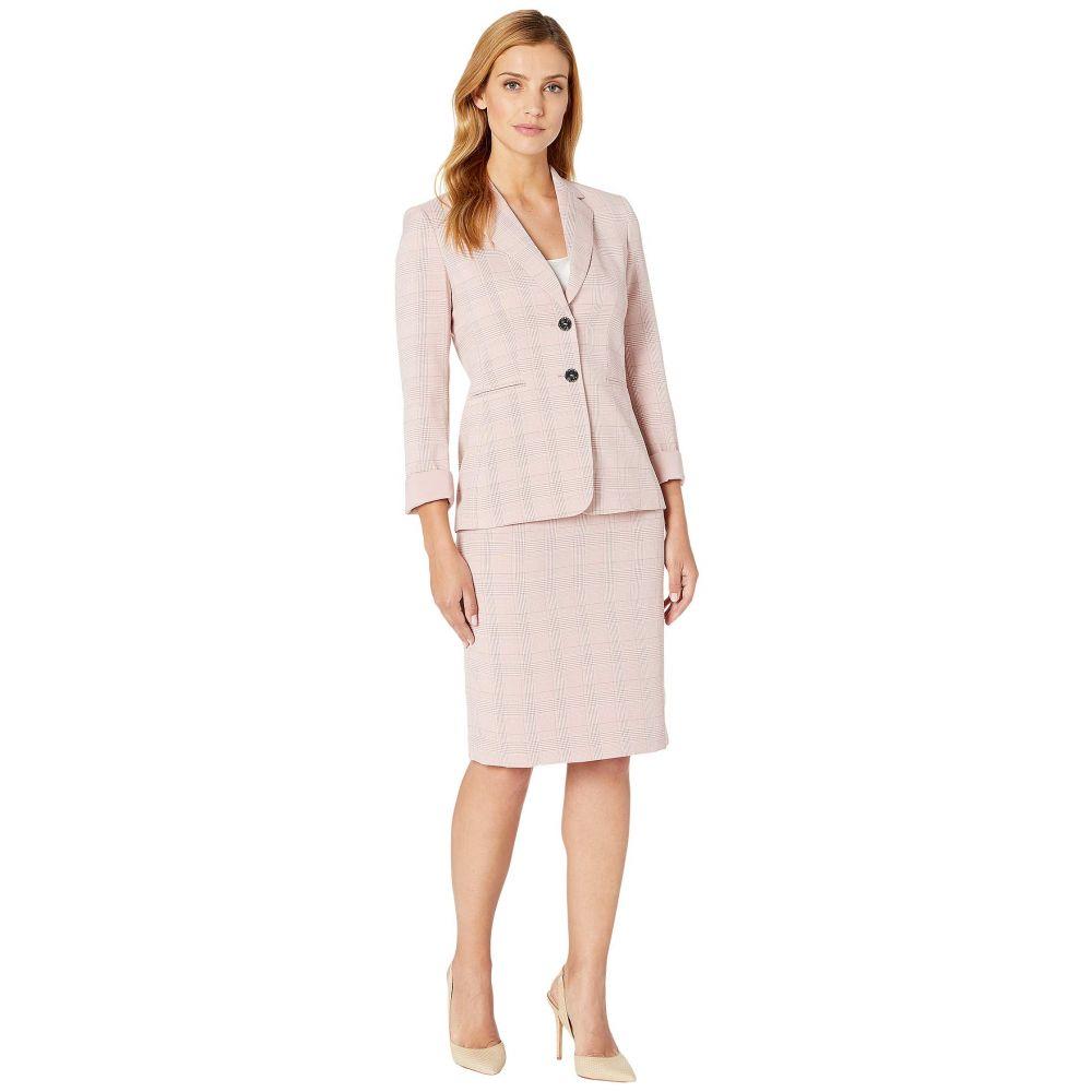 タハリ Tahari by ASL レディース スーツ・ジャケット アウター【Roll Sleeve Two-Button Jacket Skirt Set】Pink Plaid