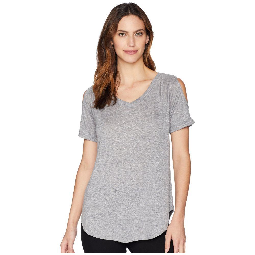 モドオードック Mod-o-doc レディース Tシャツ ラグラン トップス【Linen Jersey Cold Shoulder Raglan Tee】Grey