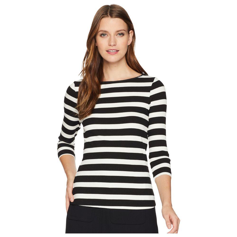 スリードッツ Three Dots レディース 長袖Tシャツ 七分袖 トップス【Alpine Stripe 3/4 Sleeve Top w/ Shell Stitch】Black/Natural