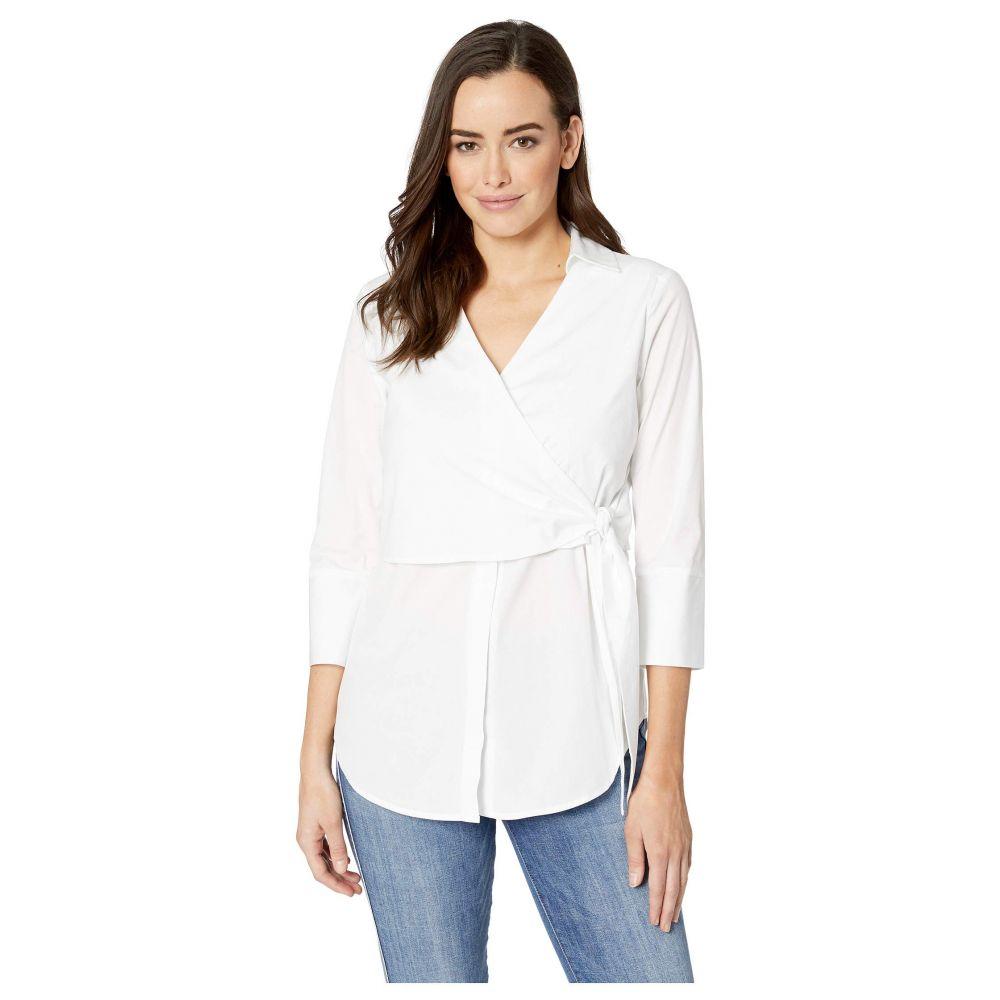 エリオットローレン Elliott Lauren レディース ブラウス・シャツ トップス【White on White Tie Front Wrap Shirt】White