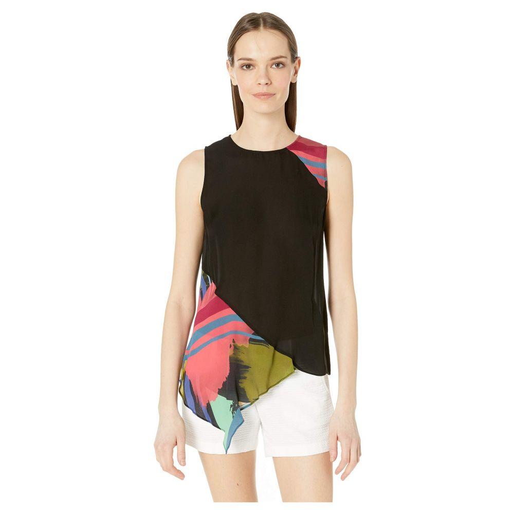ニコルミラー Nicole Miller レディース ブラウス・シャツ トップス【Abstract Paint Asymmetrical Top】Black/Multi