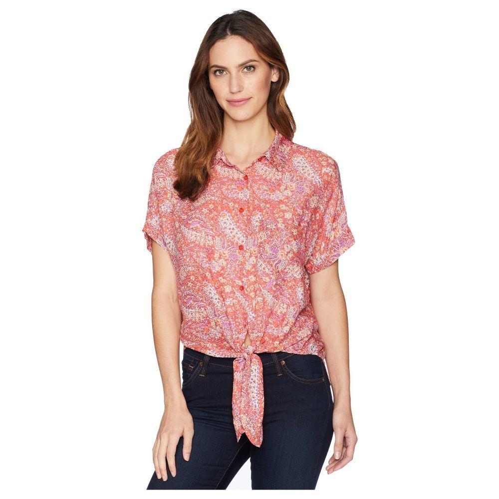モドオードック Mod-o-doc レディース ブラウス・シャツ トップス【Printed Rayon Tie-Front Shirt】Coral Paisley