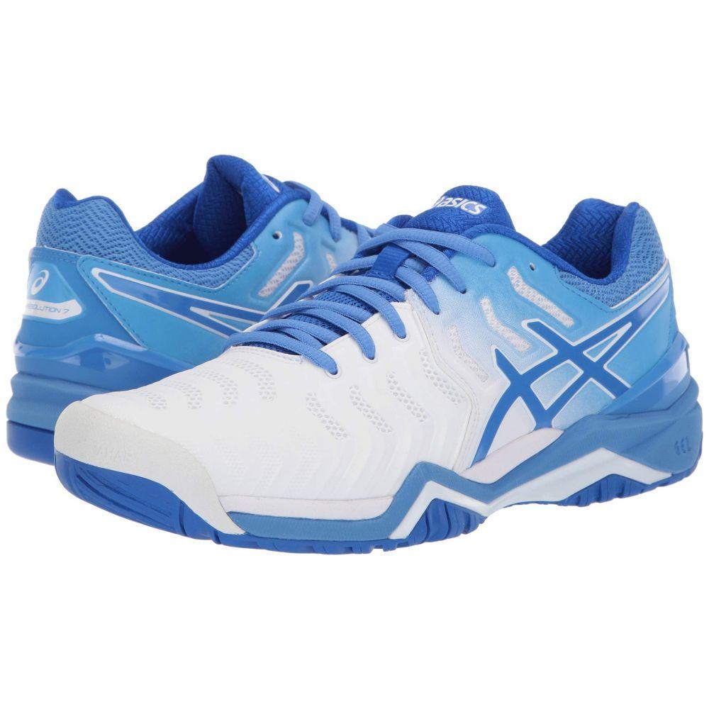 アシックス ASICS レディース スニーカー シューズ・靴【Gel-Resolution 7】White/Blue Coast