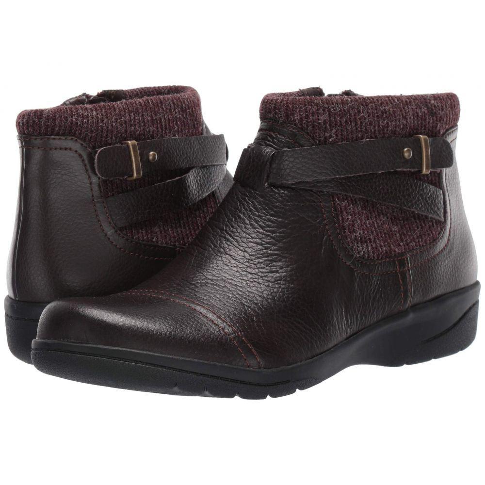 クラークス Clarks レディース ブーツ シューズ・靴【Cheyn Kisha】Dark Brown Tumbled Leather/Textile