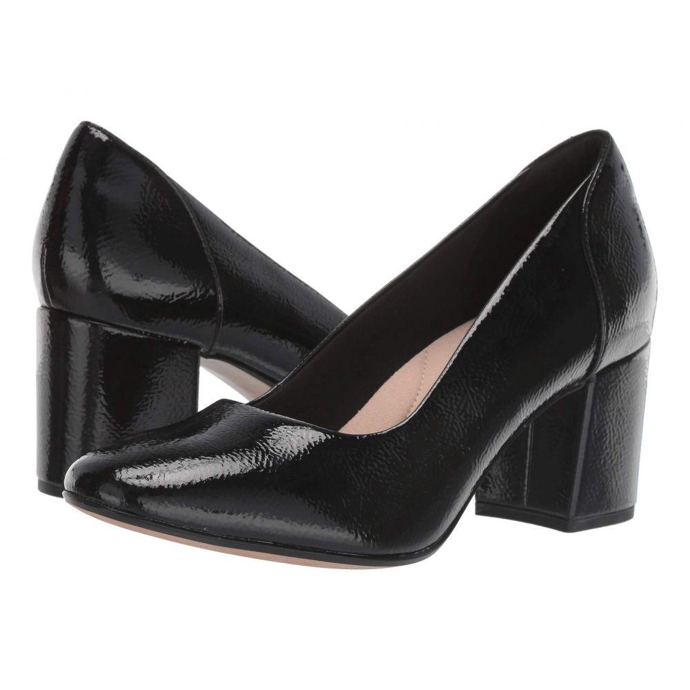 クラークス Clarks レディース パンプス シューズ・靴【Chantelle Ava】Black Synthetic Crinkle Patent