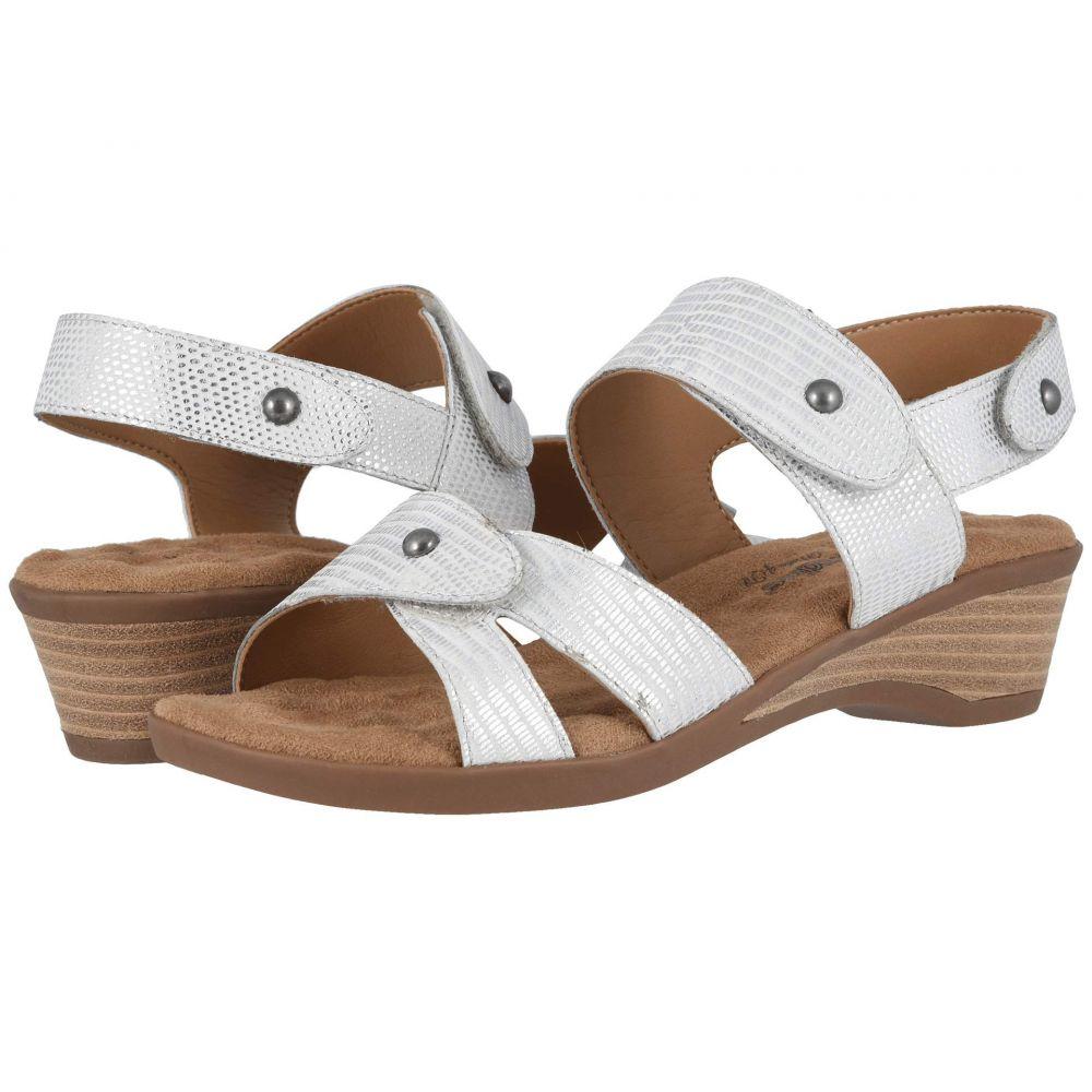 ウォーキング クレードル Walking Cradles レディース サンダル・ミュール シューズ・靴【Karen】White/Silver Metallic Lizard Print Leather