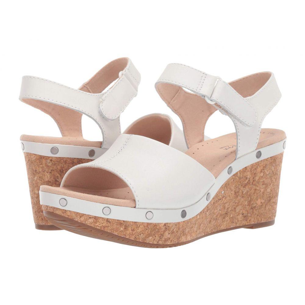 売り切れ必至! クラークス Clarks レディース サンダル・ミュール シューズ・靴【Annadel Clover】White Leather, 広川町 57b06b5d
