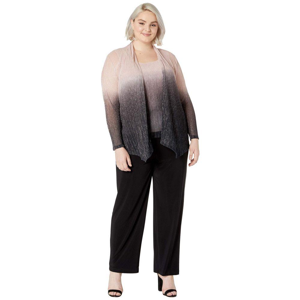マリナ MARINA レディース スーツ・ジャケット 大きいサイズ アウター【Plus Size Three-Piece Set Jacket/Cami/Pants】Black/Blush