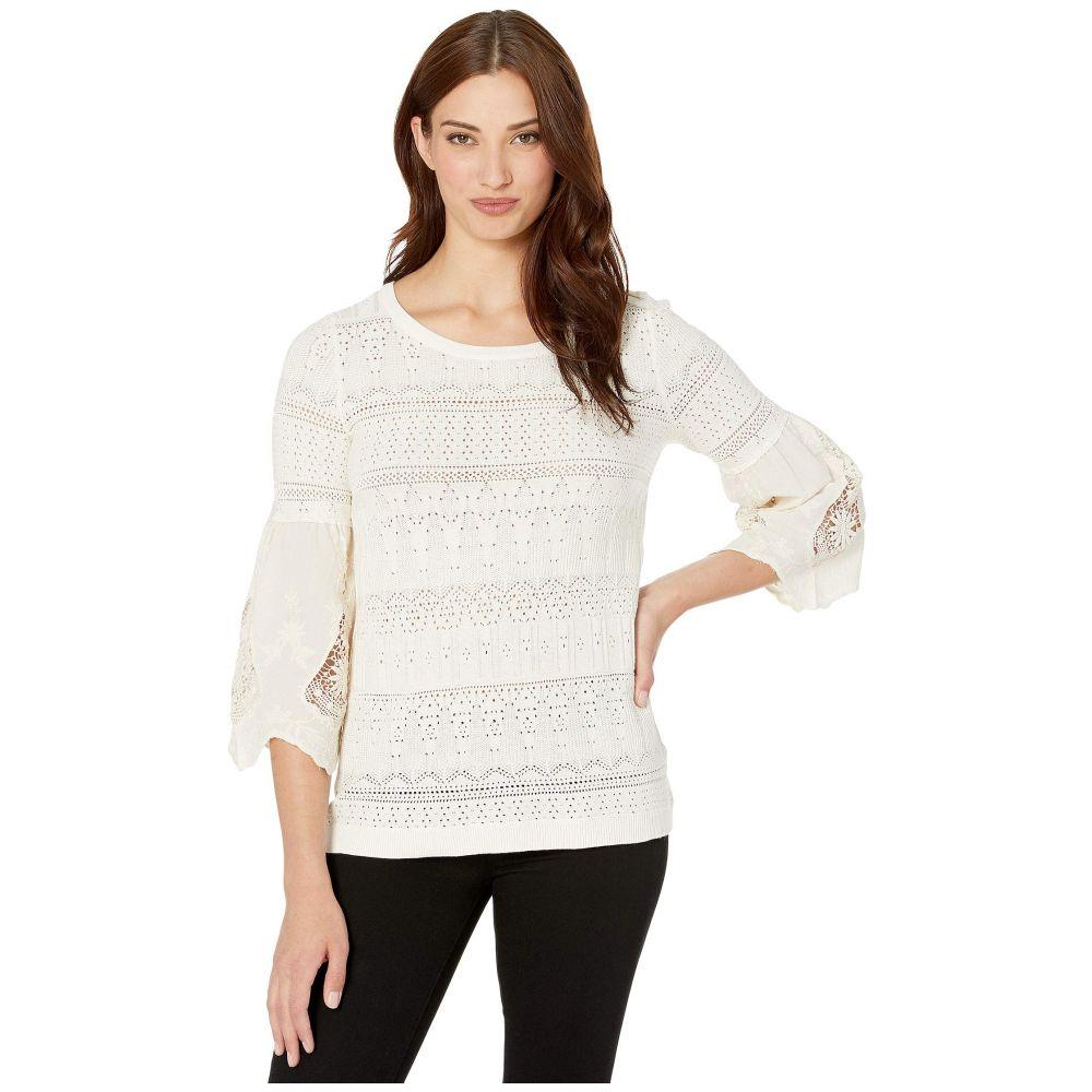 トリバル Tribal レディース ニット・セーター トップス【Fancy Sweater w/ Embroidered Sleeve Combo】Winter White