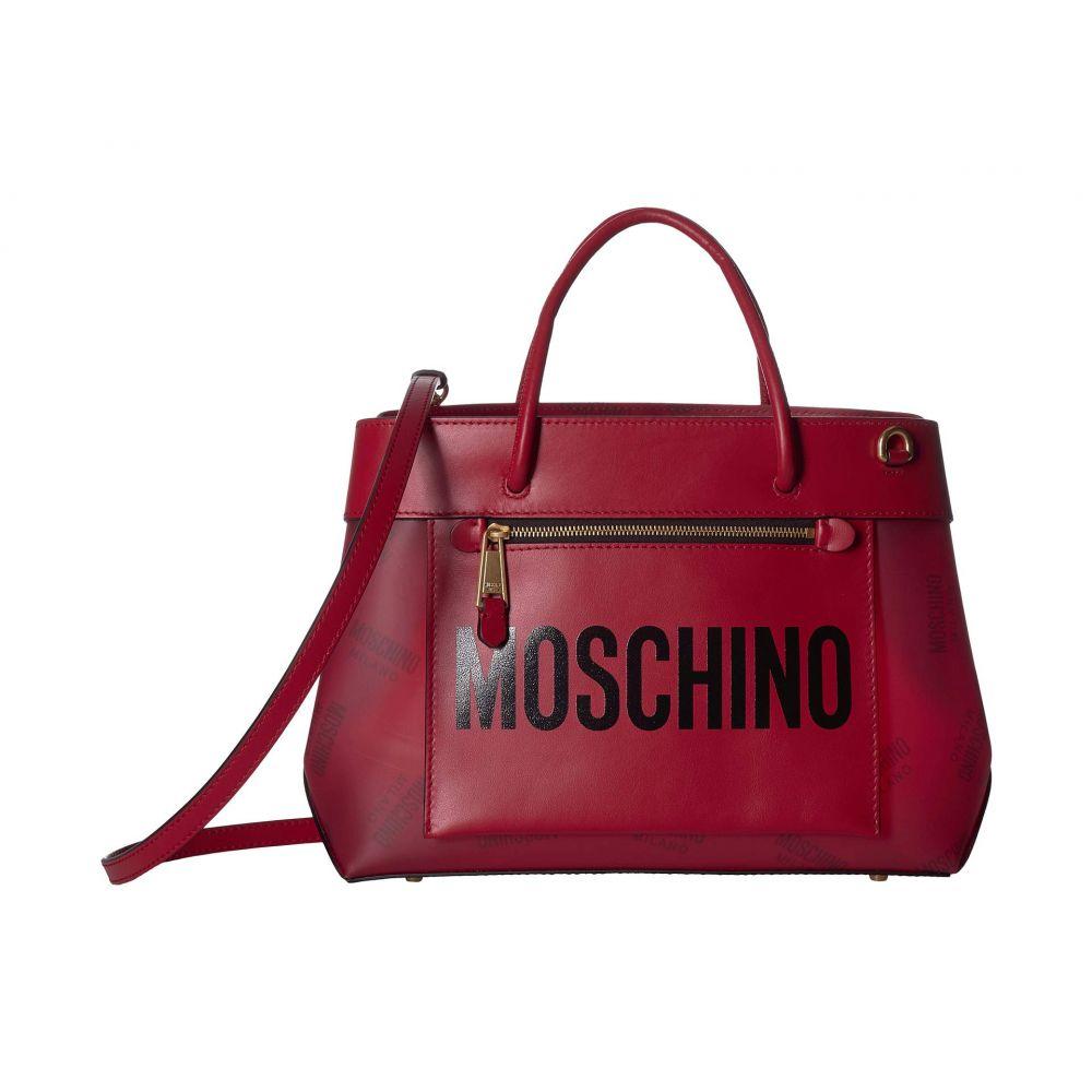 モスキーノ Moschino レディース ハンドバッグ サッチェルバッグ バッグ【Front Zip All Over Logo Satchel】Red Eco-Leather
