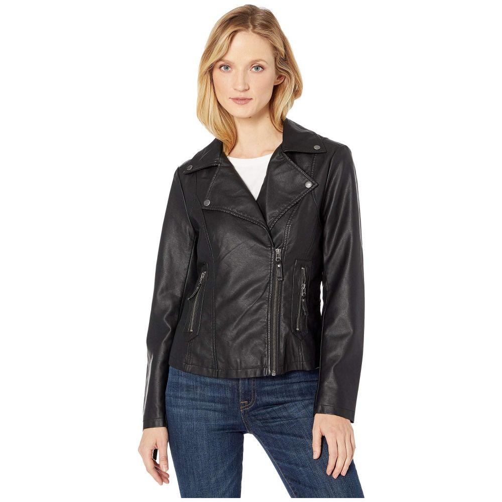 マックススタジオ MAXSTUDIO レディース レザージャケット モーターサイクルジャケット アウター【Faux Leather Moto Jacket】Black
