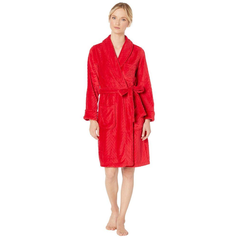 ラルフ ローレン LAUREN Ralph Lauren レディース ガウン・バスローブ ショート丈 インナー・下着【Short Shawl Collar So Soft Robe】Red