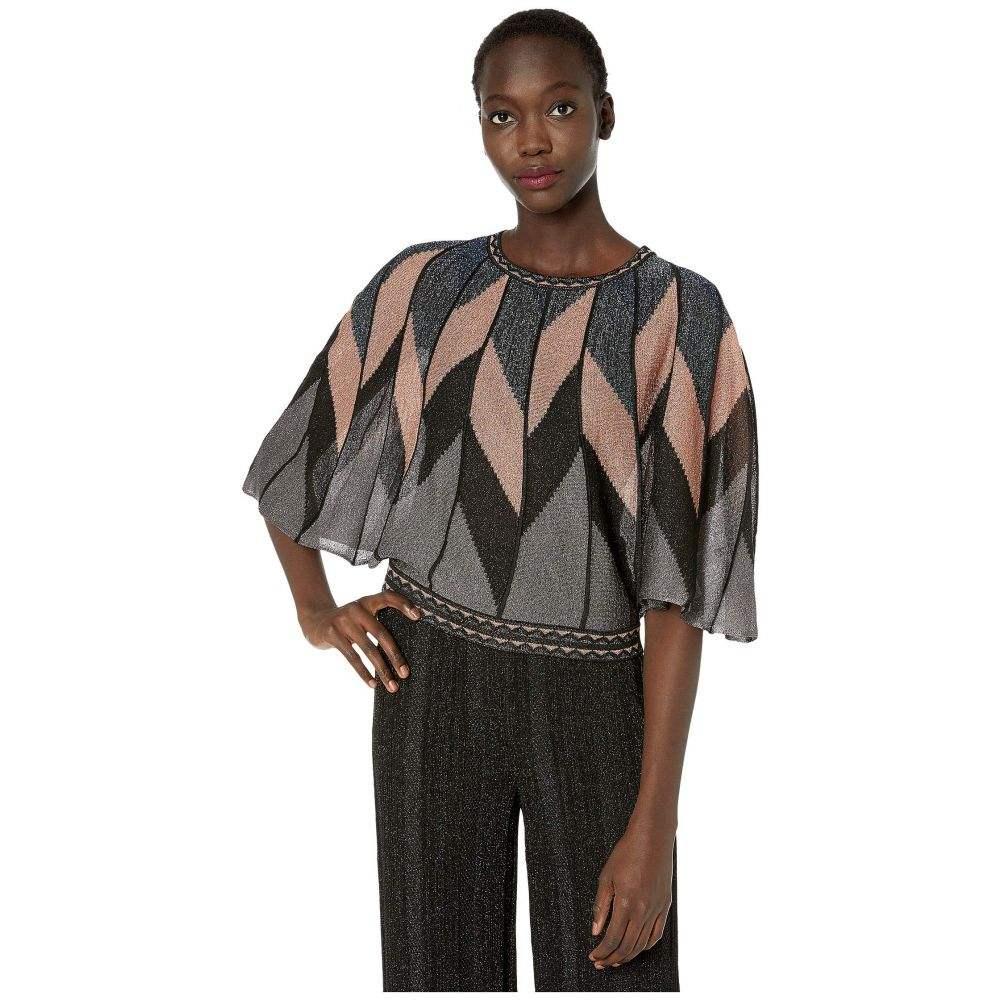 ミッソーニ M Missoni レディース ブラウス・シャツ トップス【Lurex Flutter Sleeve Top in Broken Stripes】Black Beauty