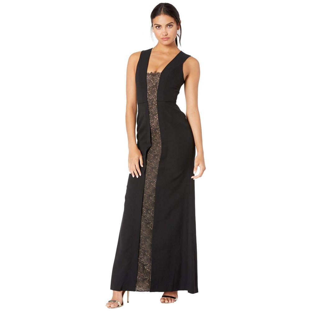 ビーシービージーマックスアズリア BCBGMAXAZRIA レディース パーティードレス ワンピース・ドレス【Satin Gown with Lace Inset】Black