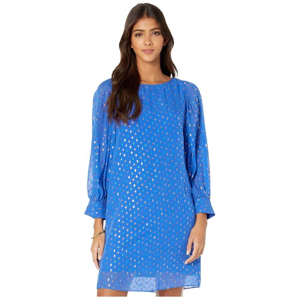 リリーピュリッツァー Lilly Pulitzer レディース ワンピース ワンピース・ドレス【Maisel Silk Dress】Iris Blue Moroccan Metallic Clip