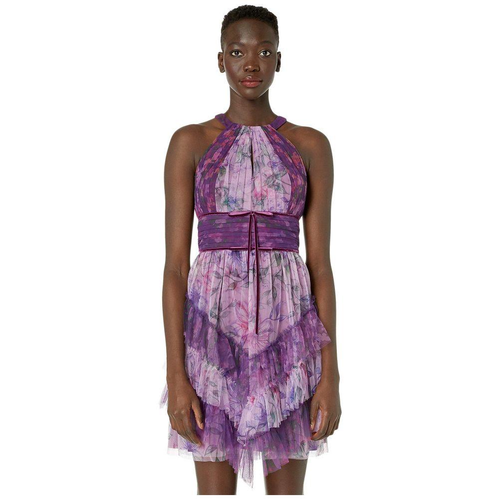 ノッテ バイ マルケッサ Marchesa Notte レディース パーティードレス ノースリーブ ワンピース・ドレス【Sleeveless Color Blocked Printed Tulle Cocktail Skirt】Lilac