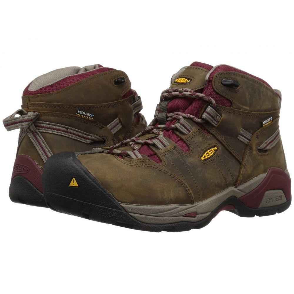 キーン Keen Utility レディース ハイキング・登山 シューズ・靴【Detroit XT Mid Steel Toe Waterproof】Black Olive/Tawny Red
