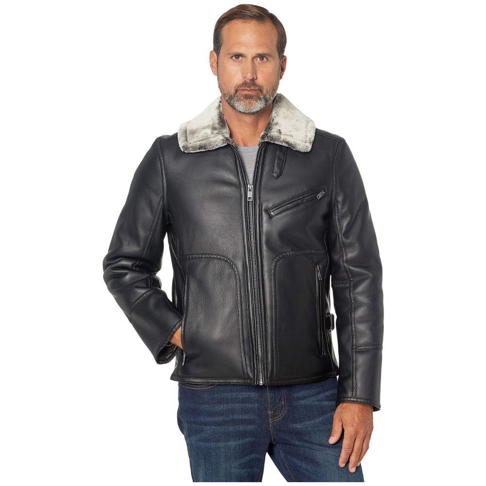 マークニューヨーク Marc New York by Andrew Marc メンズ レザージャケット アウター【Lenox Faux Leather Jacket with Faux Fur Lining】Black