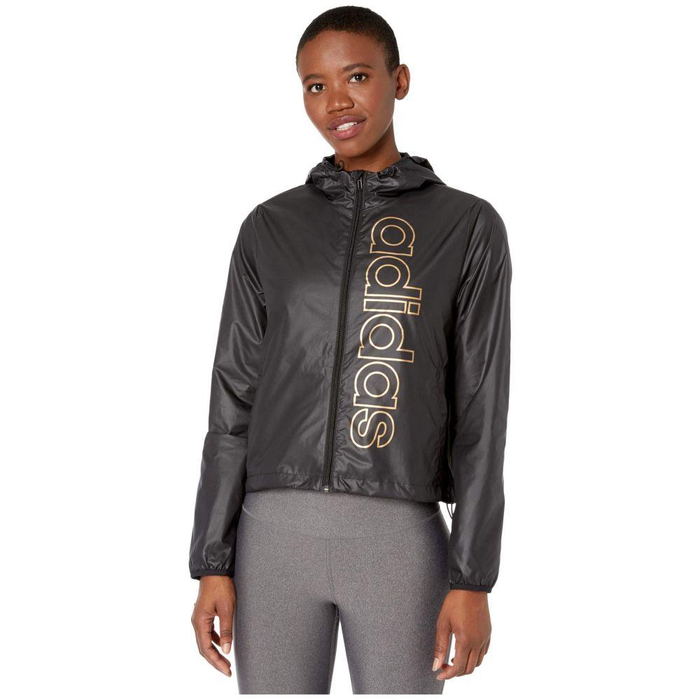 アディダス adidas レディース ジャケット ウィンドブレーカー アウター【Essentials Branded Windbreaker Jacket】Black/Copper Metallic