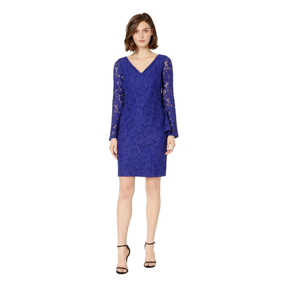 ラルフ ローレン LAUREN Ralph Lauren レディース ワンピース ワンピース・ドレス【97G Garden Floral Lace Fresy Long Sleeve Day Dress】Cannes Blue