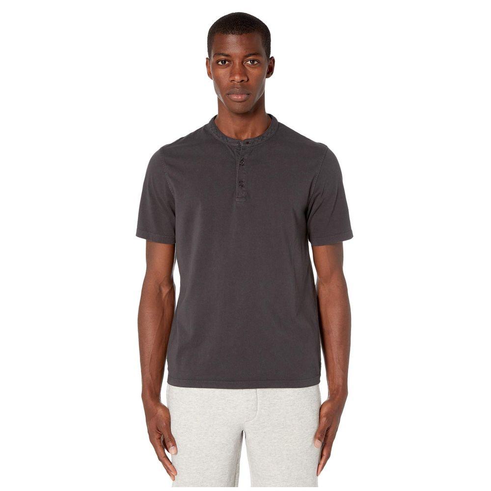 ヴィンス Vince メンズ Tシャツ ヘンリーシャツ トップス【Garment Dye Short Sleeve Henley】Washed Black