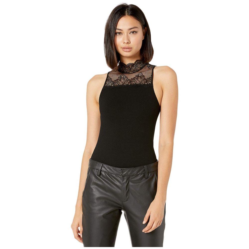 オンリー ハーツ Only Hearts レディース ボディースーツ インナー・下着【Eco Rib with Lace Thong Bodysuit】Black