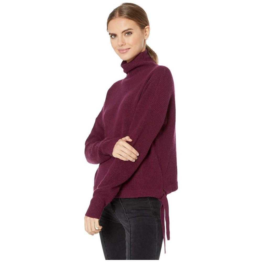 ビーシービージーマックスアズリア BCBGMAXAZRIA レディース ニット・セーター トップス【Long Sleeve Pullover Sweater with Tie Detail】Dark Purple