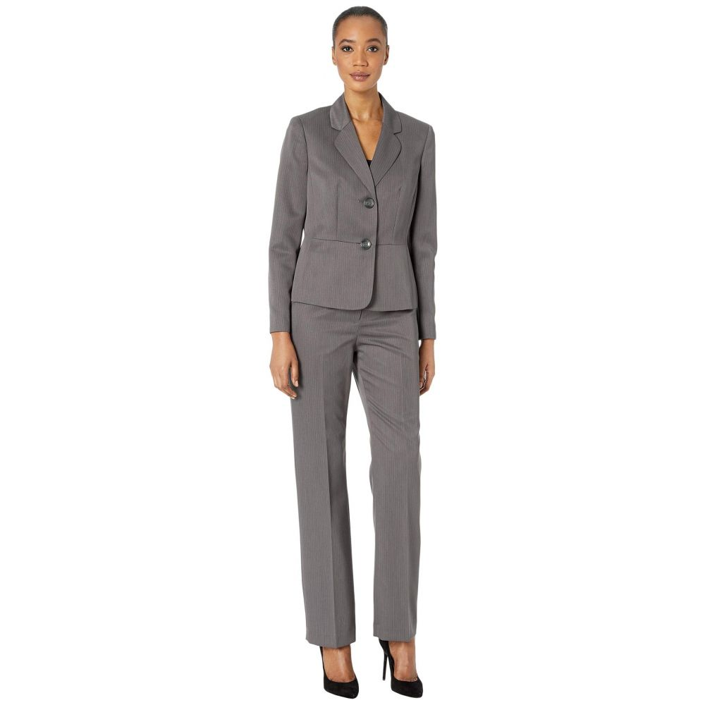 ル スーツ Le Suit レディース スーツ・ジャケット アウター【Two-Button Hotch Collar Tonal Stripe Pantsuit】Grey Tonal