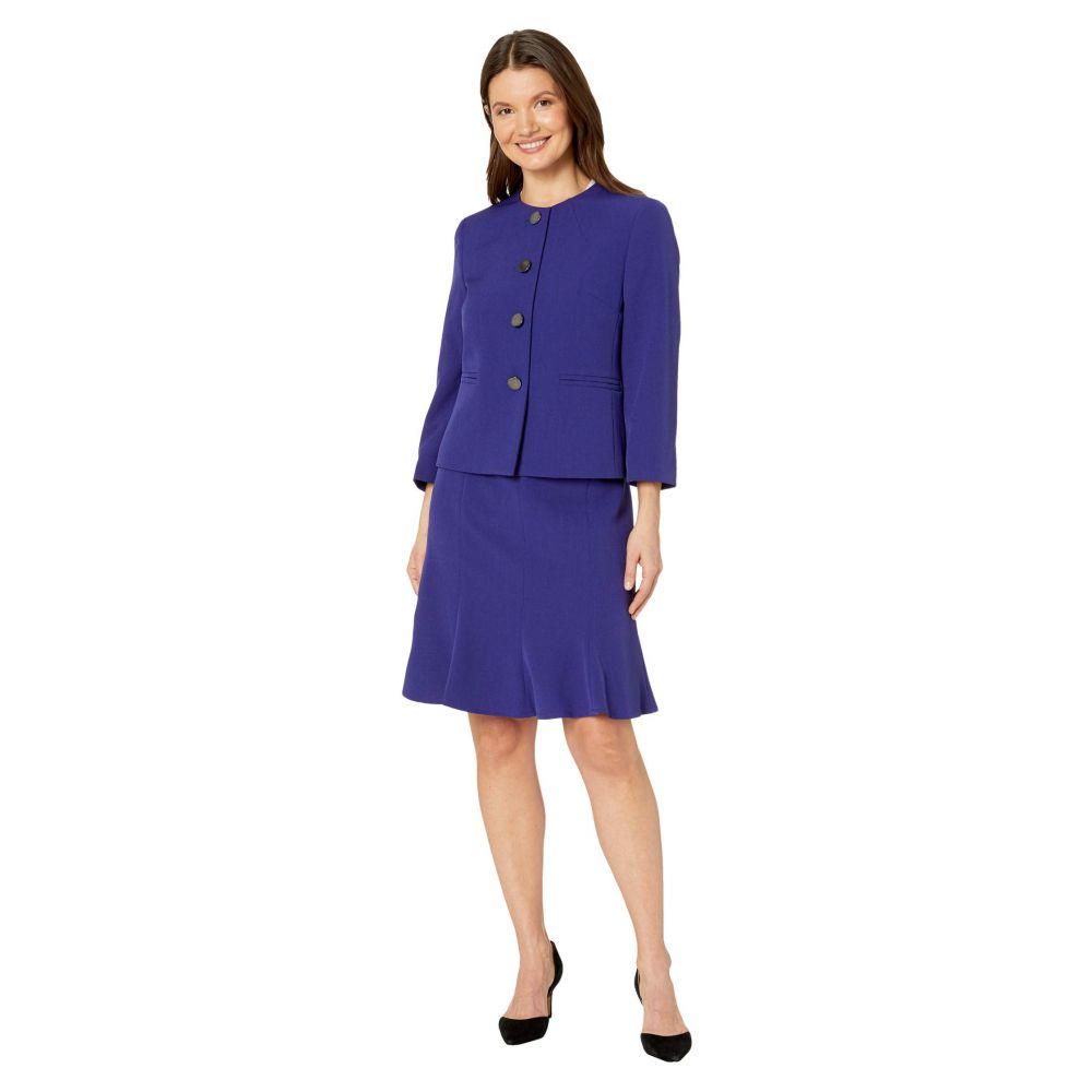 ル スーツ Le Suit レディース スーツ・ジャケット スカートスーツ アウター【Four-Button Crepe Trumpet Skirt Suit】Grape