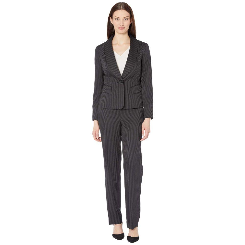 ル スーツ Le Suit レディース スーツ・ジャケット アウター【One-Button Shawl Collar Double Pinstripe Slim Pantsuit】Black/Ivory