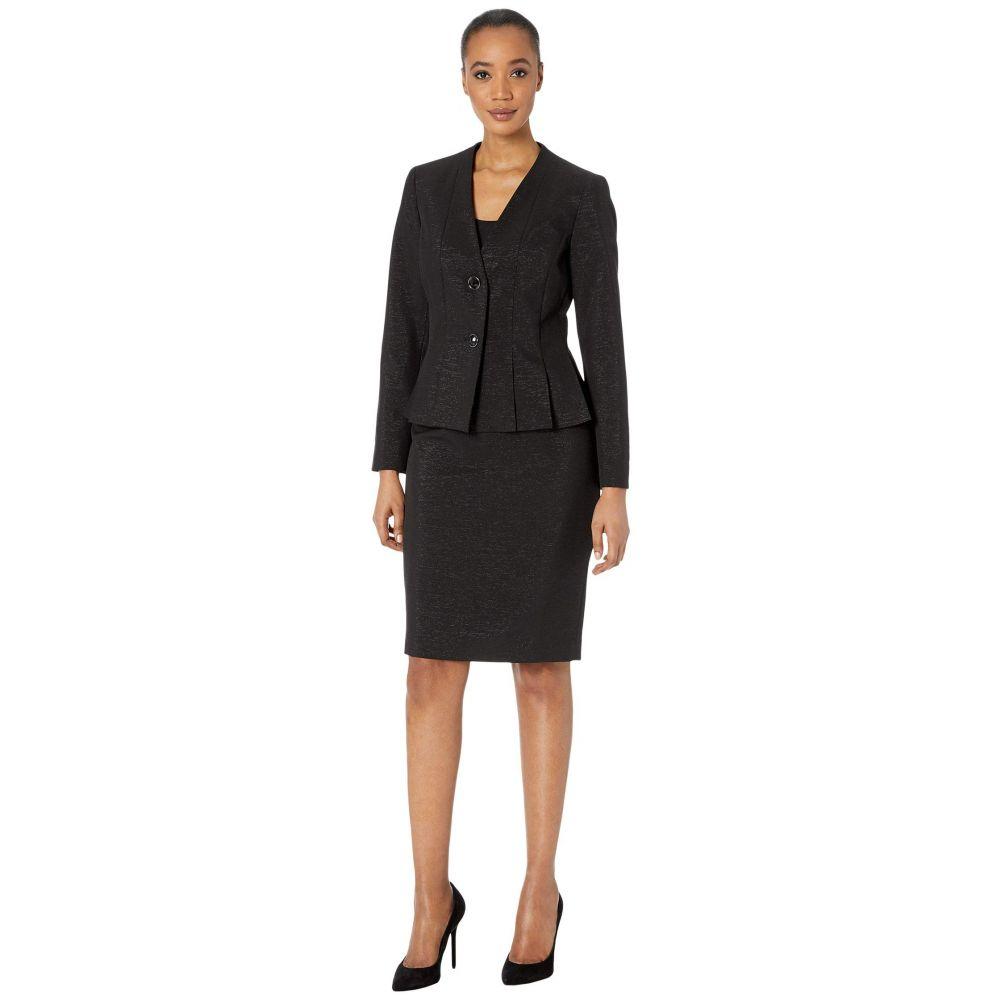 ル スーツ Le Suit レディース スーツ・ジャケット スカートスーツ アウター【Two-Button Shiny Novelty Skirt Suit】Black