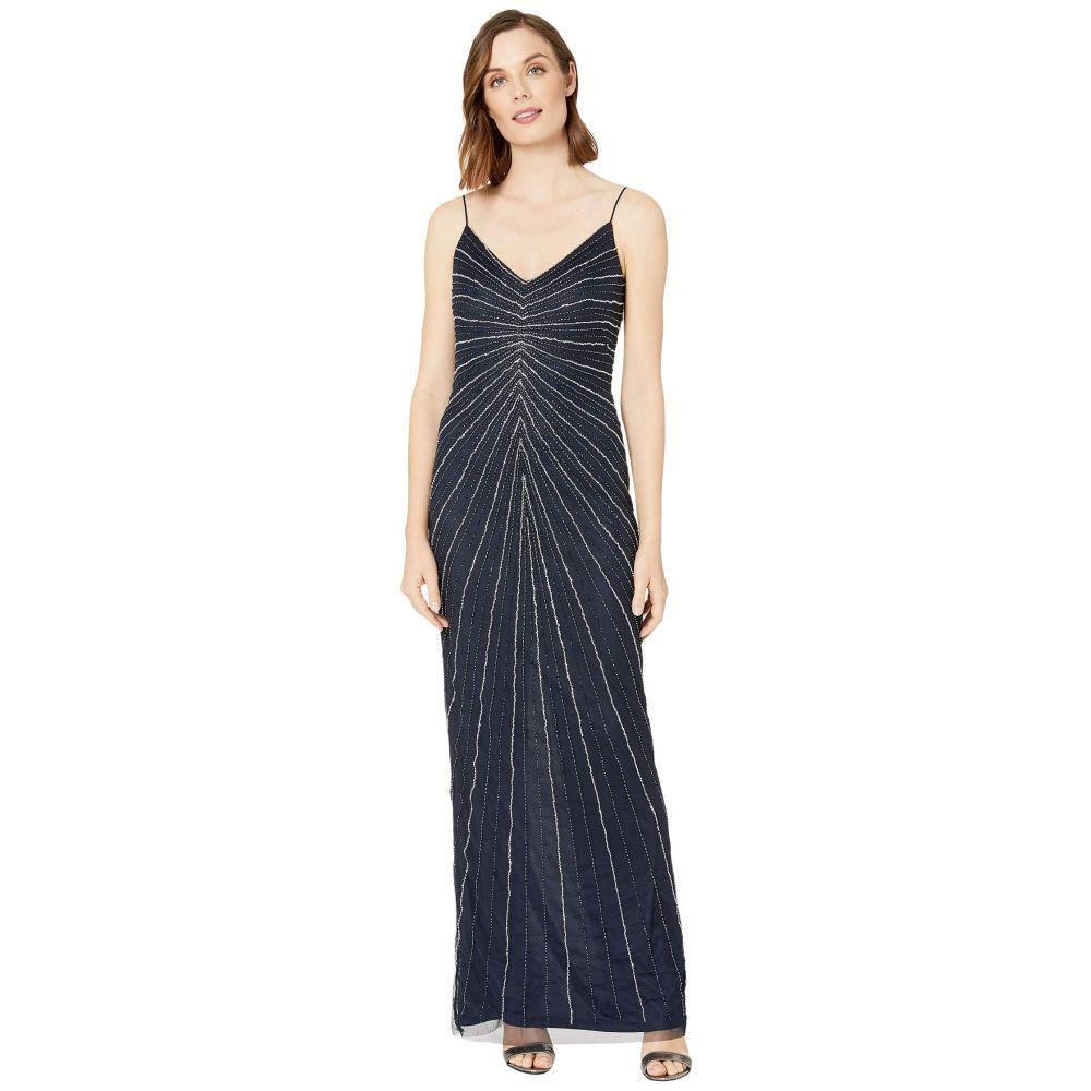 マリナ MARINA レディース パーティードレス ワンピース・ドレス【Sunburst Beaded Slinky Gown】Navy