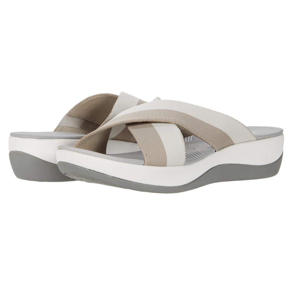 クラークス Clarks レディース サンダル・ミュール シューズ・靴【Arla Elin】Sand/Off-White Striped Textile