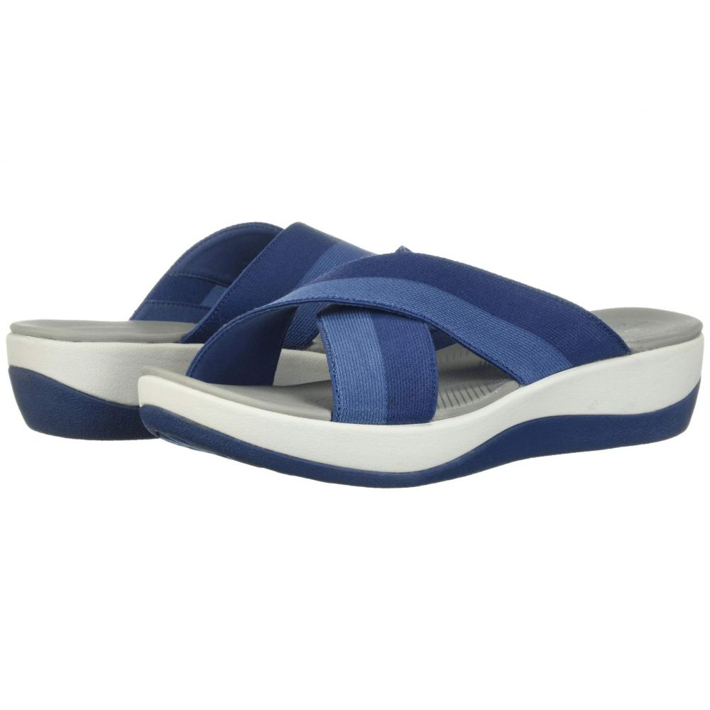 クラークス Clarks レディース サンダル・ミュール シューズ・靴【Arla Elin】Indigo Blue Striped Textile