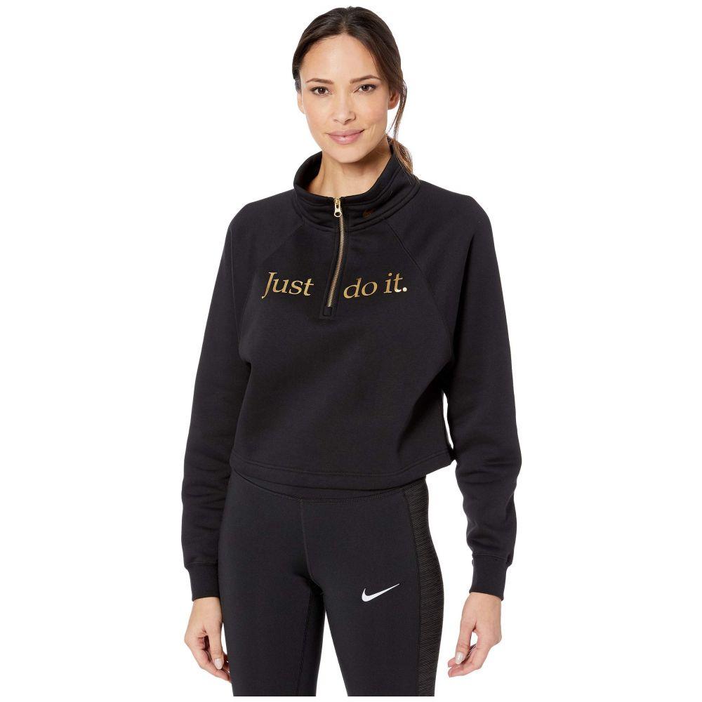 ナイキ Nike レディース スウェット・トレーナー ハーフジップ トップス【NSW Funnel 1/2 Zip Shine】Black/Black/Metallic Gold