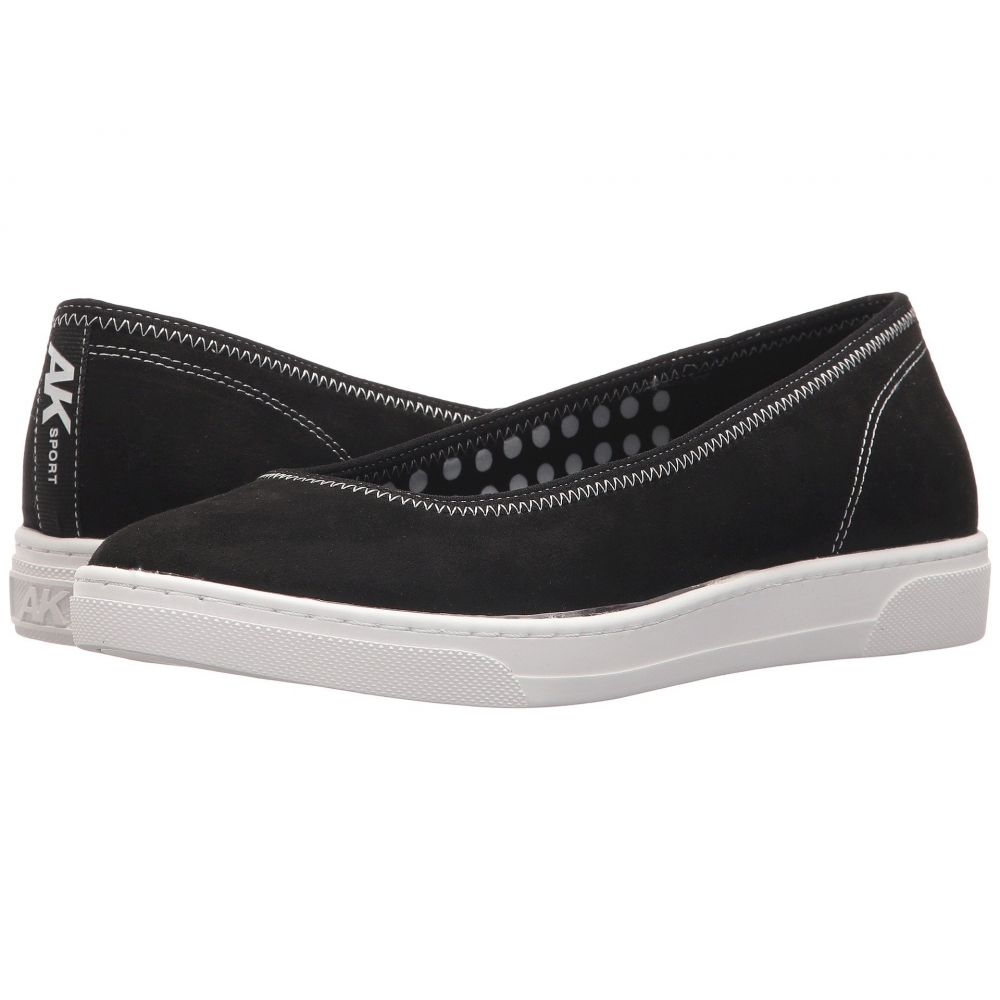 アン クライン Anne Klein レディース スリッポン・フラット シューズ・靴【Overthetop】Black/Black/White Fabric