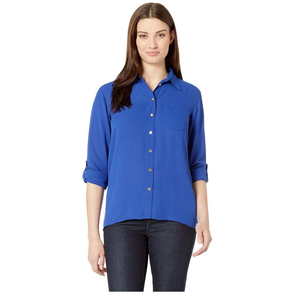 マイケル コース MICHAEL Michael Kors レディース ブラウス・シャツ ドロップショルダー トップス【Drop Shoulder Pocket Shirt】Twilight Blue