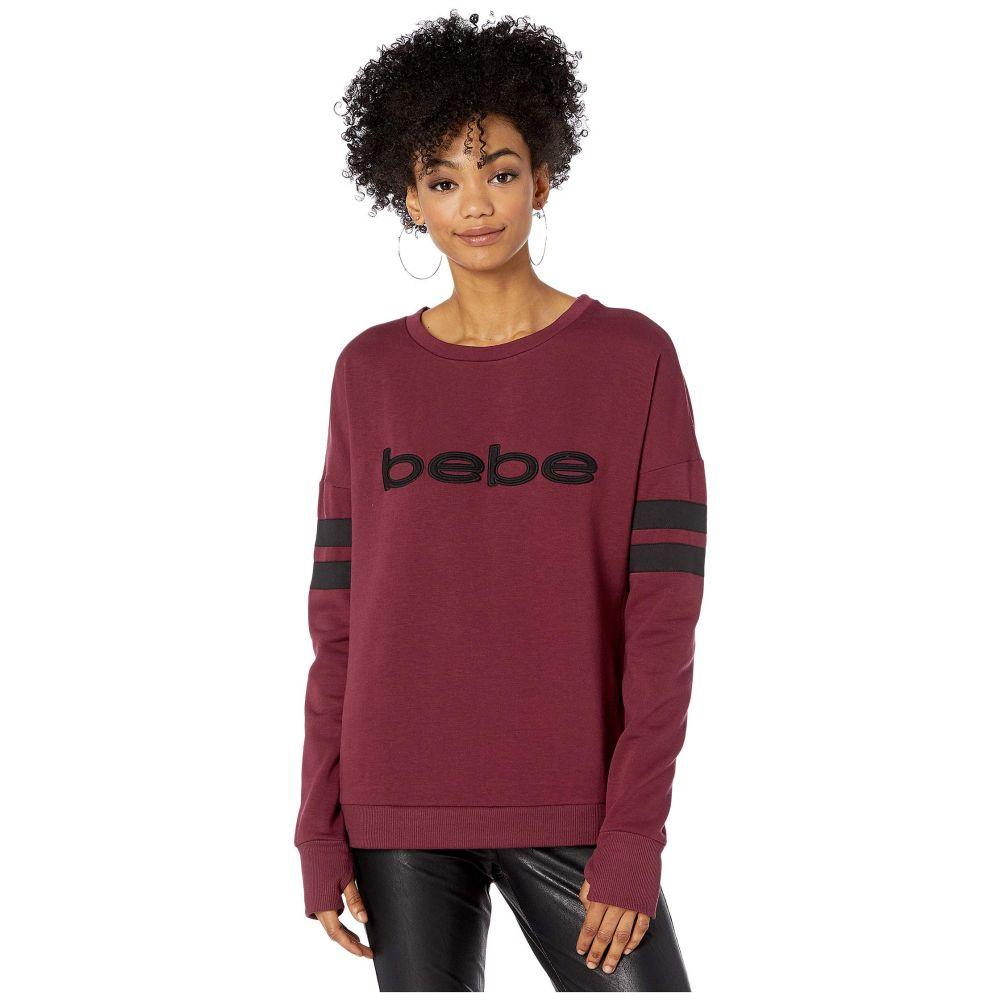 ビビ スポーツ Bebe Sport レディース スウェット・トレーナー トップス【Sherpa Logo Sweatshirt】Burgundy