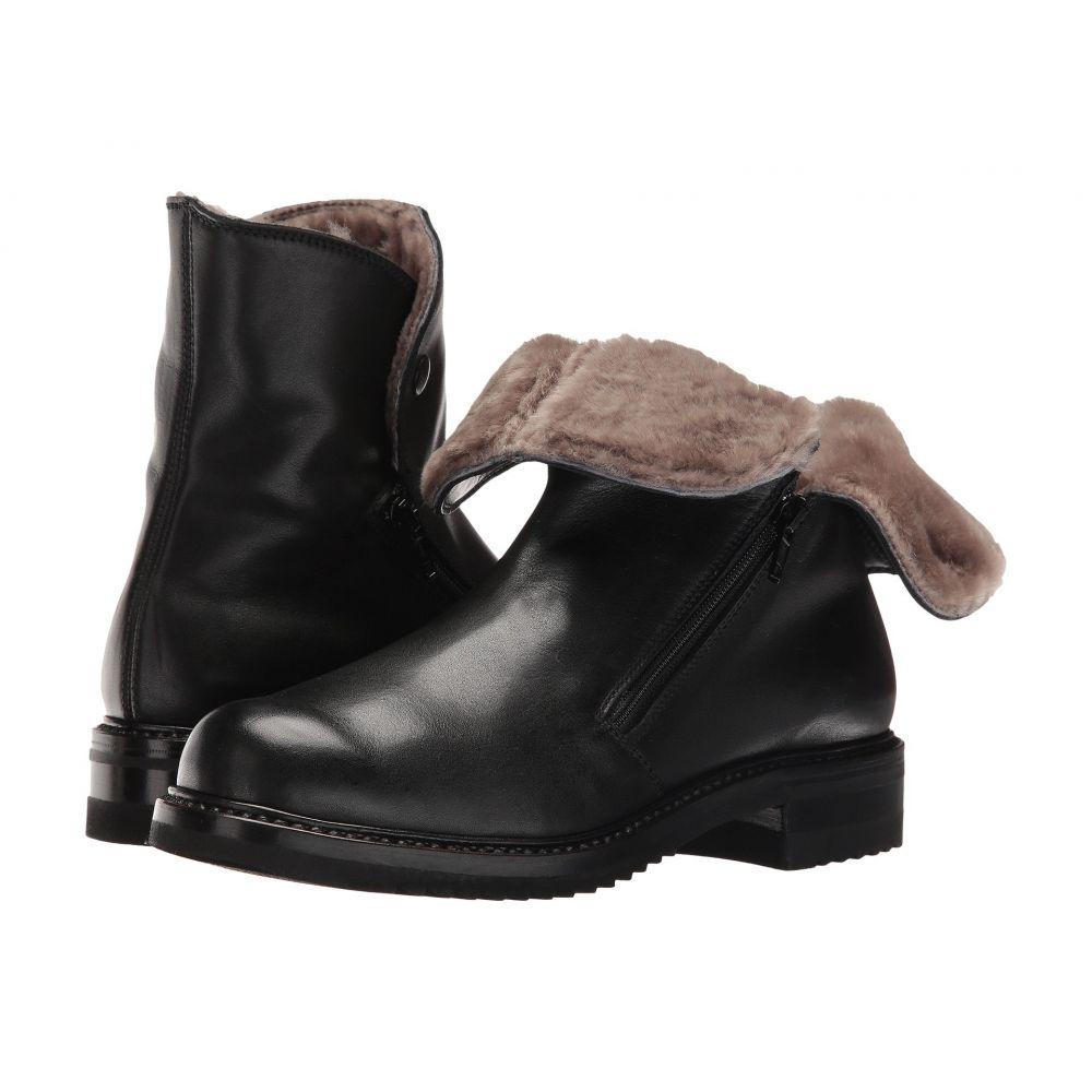 グラバティ Gravati レディース ブーツ ショートブーツ シアリング シューズ・靴【Double Zip Ankle Boot With Shearling Lining】Butter Calf Black