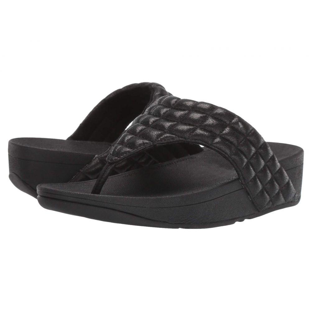 フィットフロップ FitFlop レディース ビーチサンダル シューズ・靴【Lulu Padded Shimmy Suede Toe Thong】All Black