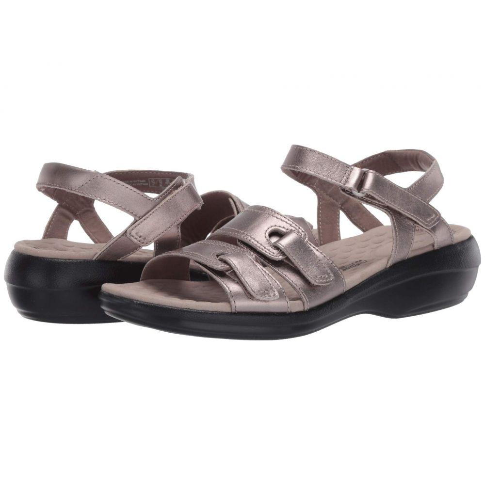 クラークス Clarks レディース サンダル・ミュール シューズ・靴【Alexis Shine】Pewter Metallic Leather
