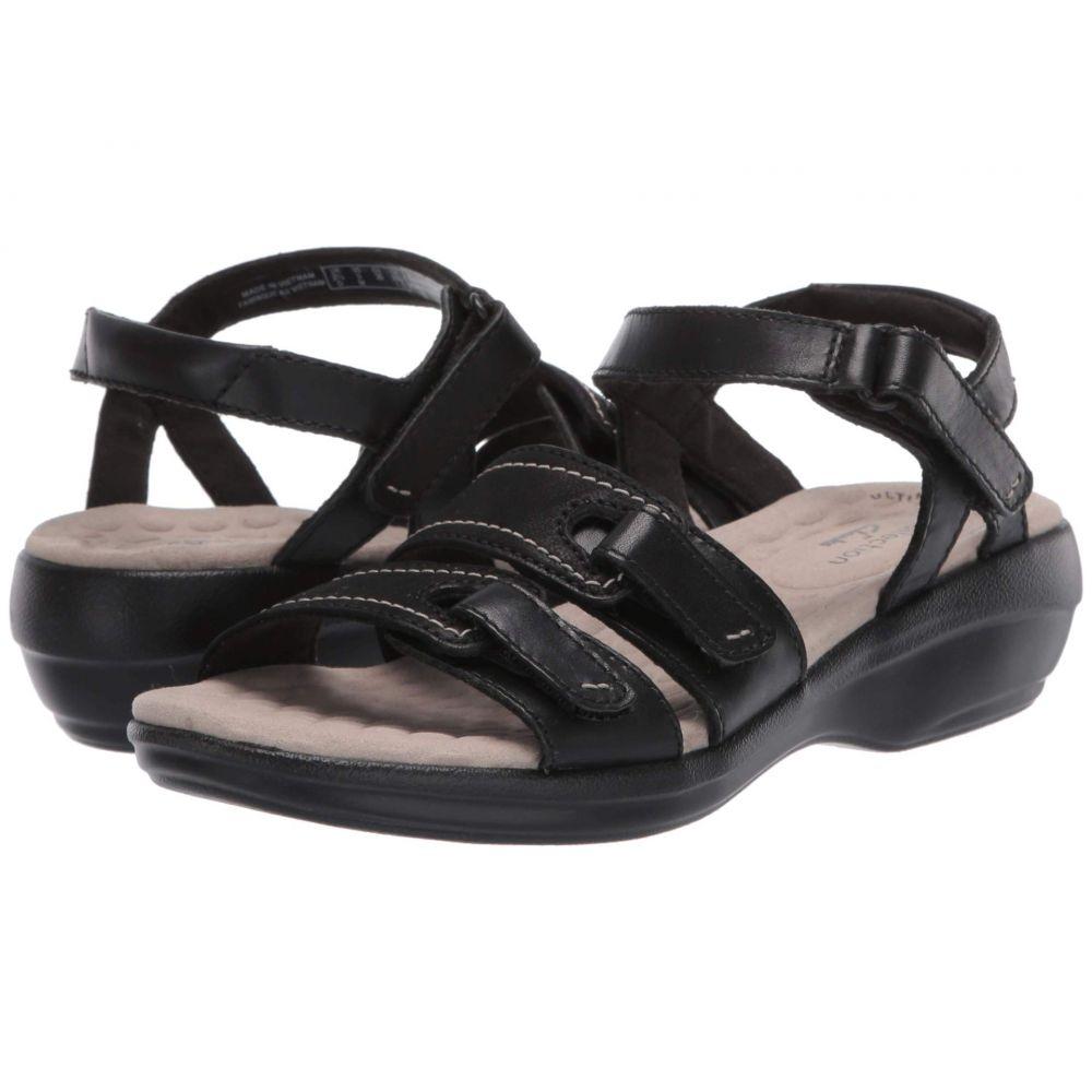 クラークス Clarks レディース サンダル・ミュール シューズ・靴【Alexis Shine】Black Leather/Nubuck Combi