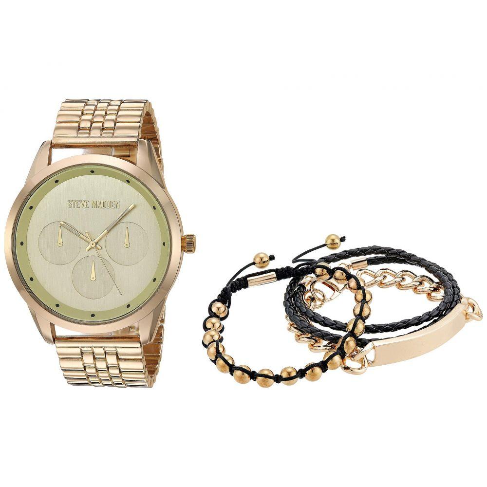 スティーブ マデン Steve Madden メンズ ブレスレット ブレスレットウォッチ ジュエリー・アクセサリー【Three Bracelet Set and Watch Set SMWS078】Gold