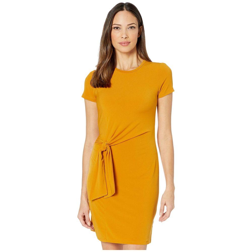 マイケル コース MICHAEL Michael Kors レディース ワンピース ワンピース・ドレス【Solid Short Sleeve Tie Twist Dress】Marigold