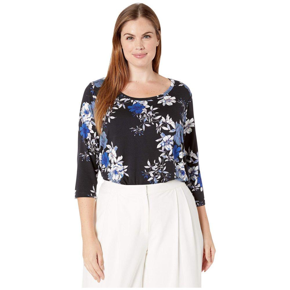 カレンケーン Karen Kane Plus レディース 長袖Tシャツ 七分袖 大きいサイズ トップス【Plus Size 3/4 Sleeve Shirttail Top】Floral Print