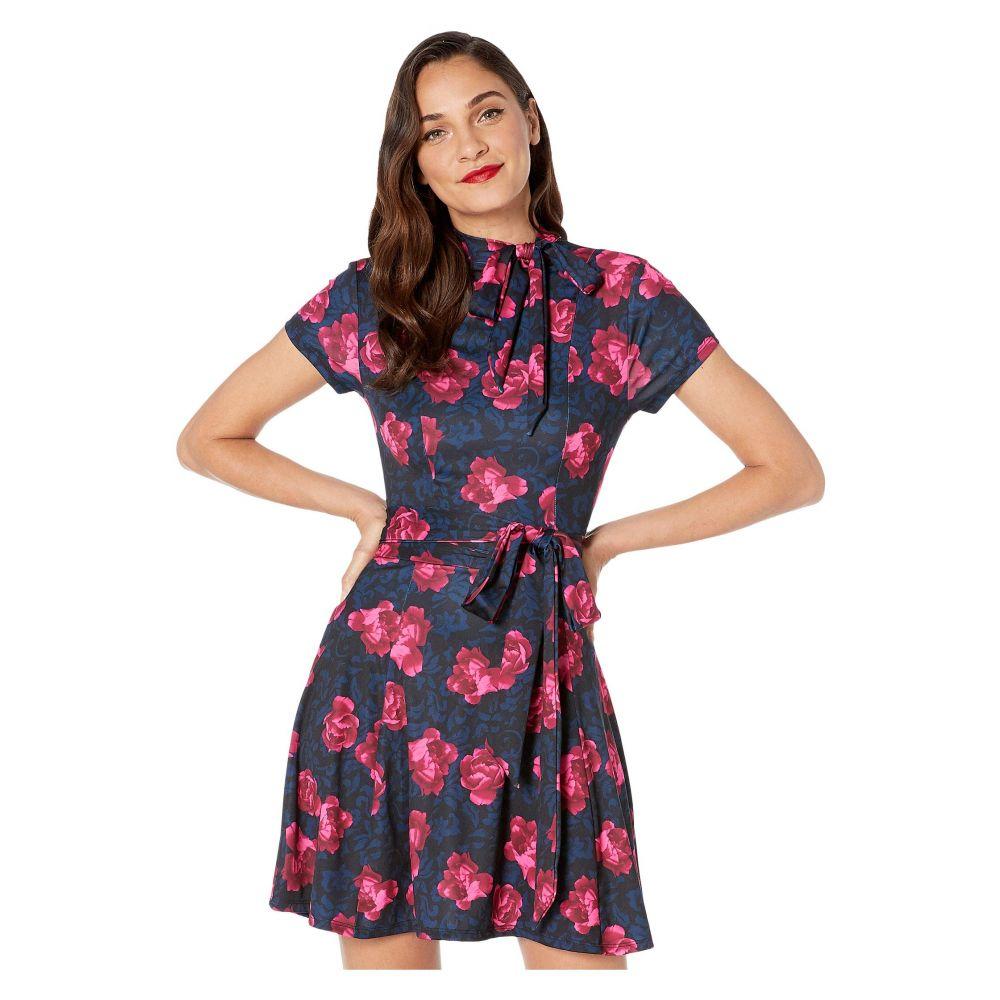 ユニークヴィンテージ Unique Vintage レディース ワンピース ワンピース・ドレス【1960s Style Floral Print Bancroft Fit-and-Flare Dress】Navy/Pink